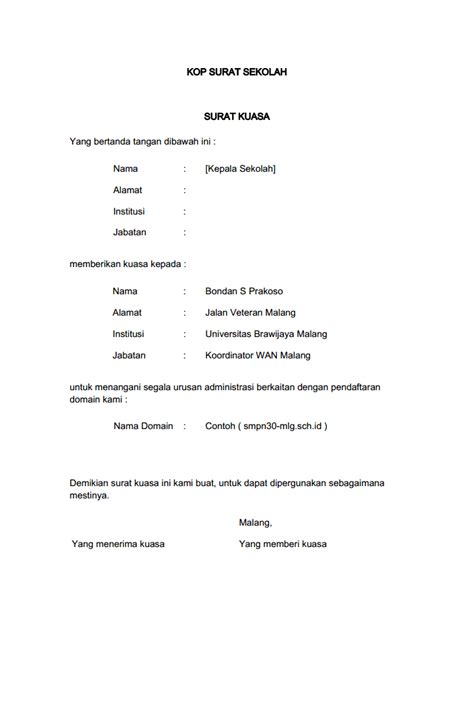format surat kuasa pengurusan imb contoh surat