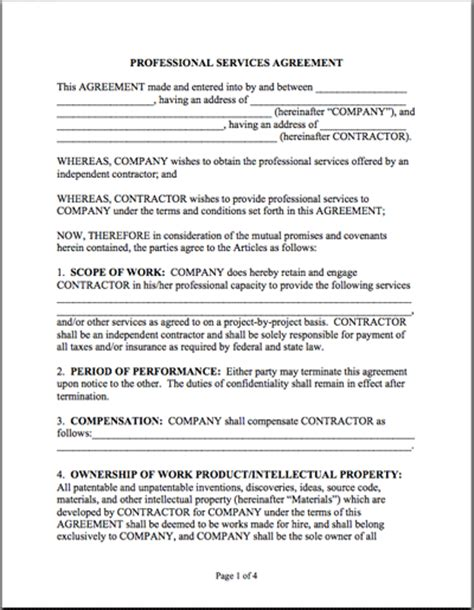professional contract template sle professional services agreement thrivingbusiness
