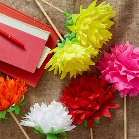 How To Make Paper Mexican Flowers - mexican crepe paper flowers dahlia west elm