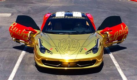 gold ferrari gold chrome ferrari 458 italia for goldrush rally vi