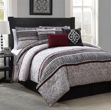 luxurious  piece queen size bed comforter set bedroom bedding red gray ebay