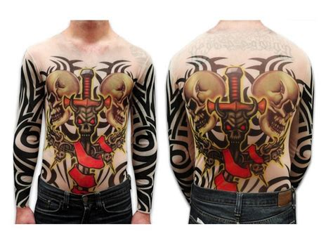 tattoo full body shirt unisex demon sword and skulls full body tattoo shirt long