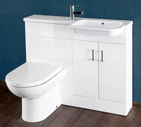 gloss white 1000mm vanity unit and wc combination rh