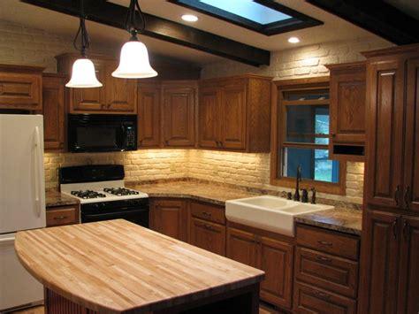 split level kitchen remodel oak cabinets farm sink butcher block wood countertop red island kitchens kitchen remodel kitchen