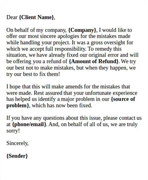 Formal Apology Letter To Client