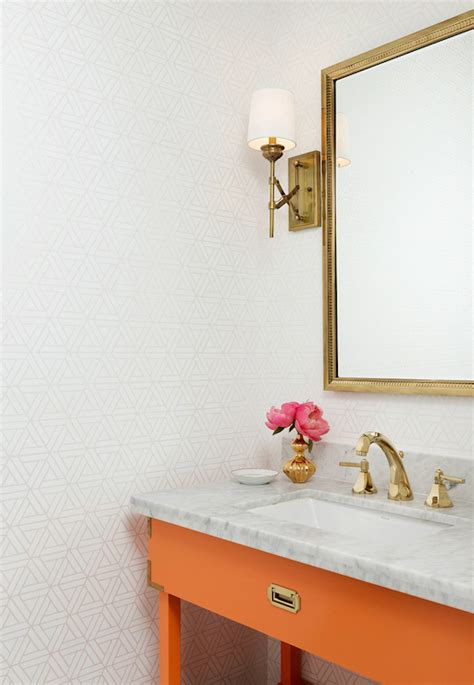 Orange And Gray Bathroom Ideas by Orange Vanity Bathroom Hallie Henley Design