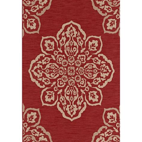 Hton Bay Medallion Red 5 Ft X 7 Ft Indoor Outdoor Hton Bay Outdoor Rugs