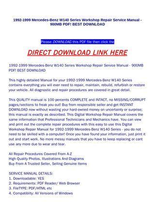 car repair manuals online pdf 1992 mercedes benz 500sel seat position control 1992 1999 mercedes benz w140 series workshop repair service manual 900mb pdf best download by