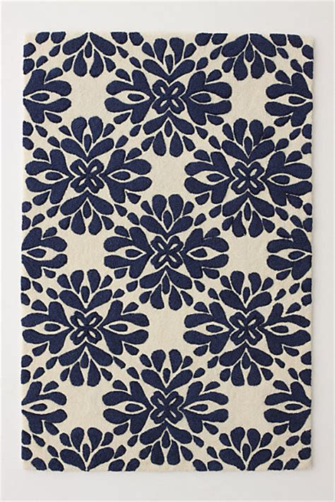 Anthropologie Kitchen Rug Coqo Floral Rug Navy Contemporary Rugs