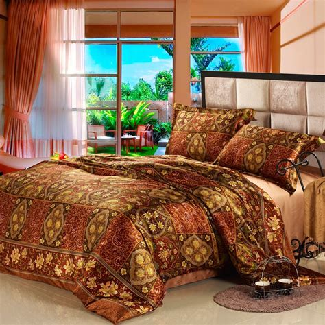 indian comforter sets brown and gold vintage floral and indian style tribal print full queen size luxury 100 organic