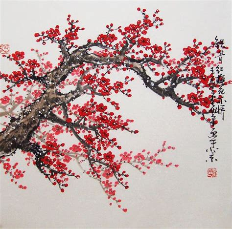 cherry blossom tree b q original painting lovely cherry blossom tree no 15 cerezo