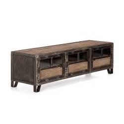 meuble tv en pin acier et verre ware d 233 coration