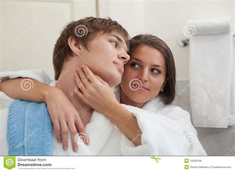 couples in bathroom young happy couple in a bathroom royalty free stock