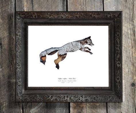 Idea For Home Decor Fox Silhouette In Bark Woodland Animal Eco Decor