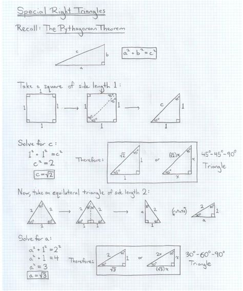 Special Right Triangles Worksheet 30 60 90 Answers by Worksheets Special Right Triangles 30 60 90 Worksheet