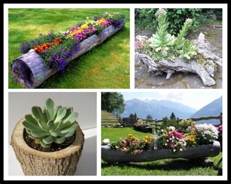 Tree Log Flower Planter by Tree Log Flower Planter Garden