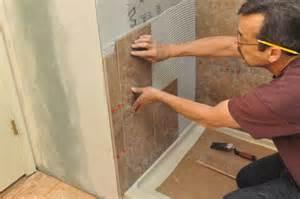 Adhesive Backsplash Tiles For Kitchen how to tile a bathroom shower walls floor materials