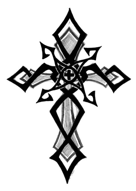 cross tattoo with shading without center cross colored underlying cross possibly