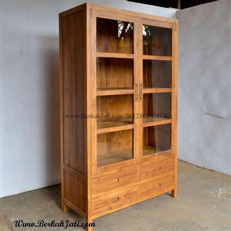 lemari pajangan minimalis kayu jati pintu kaca berkah