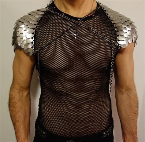 pattern blue dragonscale shoulders thorin silver scale pauldrons men s scale mail chainmail