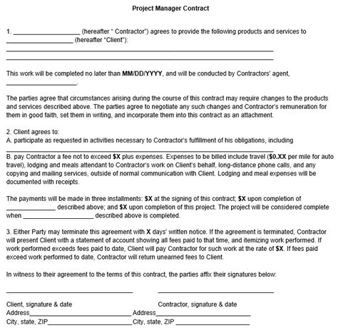 project manager contract template