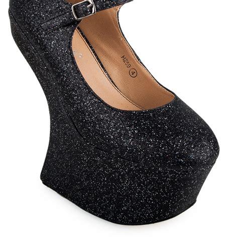 new sparkly black glitter womens wedge
