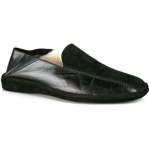 house shoes slippers michael toschi grotto shearling slippers black mensdesignershoe com