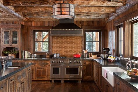 rustic backsplash rustic kitchen in wood and stone with a smart brick