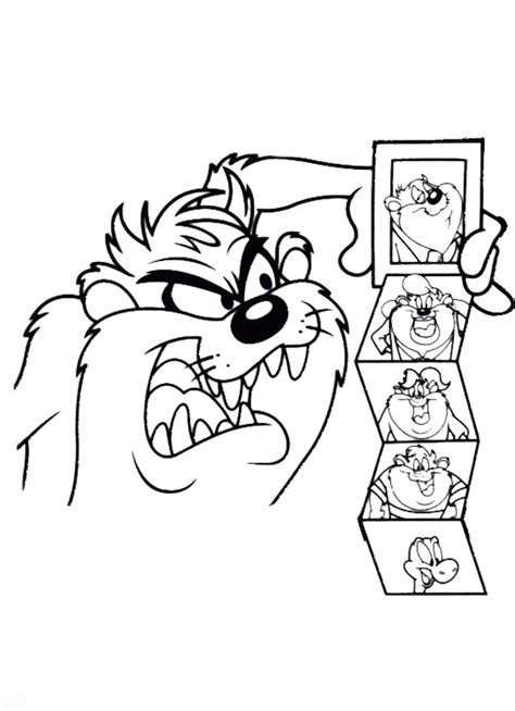 Tasmanian Devil Cartoon Character Az Coloring Pages Tasmanian Looney Tunes Coloring Page