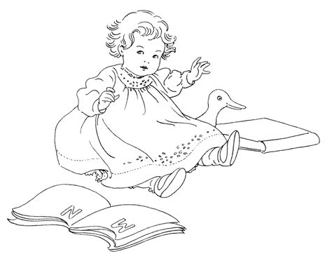 vintage baby coloring pages free vintage image baby with books old design shop blog