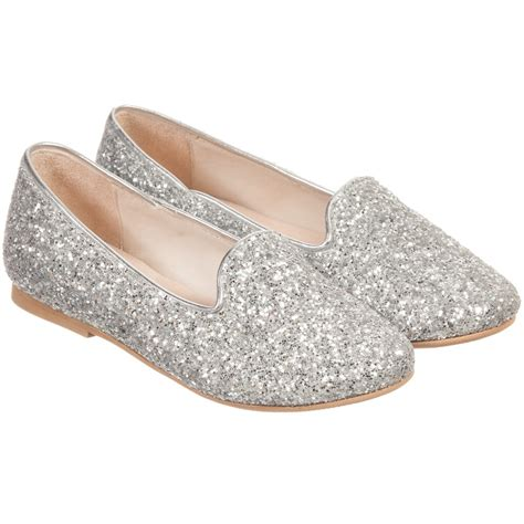 manuela de juan silver glitter leather slip on