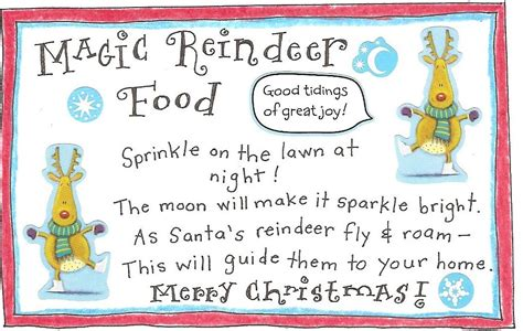 reindeer and free printable magic reindeer food tag