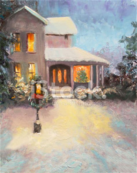 christmas snow scene an oil painting stock vector