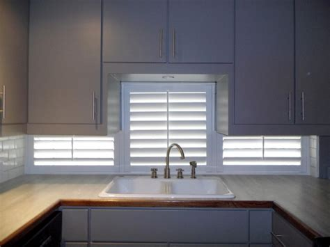kitchen window shutters interior painted shutters under kitchen cabinets