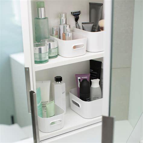 Compact Plastic Modular Bins Lids The Container Store Bathroom Storage Bins