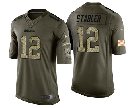 raiders jersey raiders 12 ken stabler green camo salute to service stripes jersey