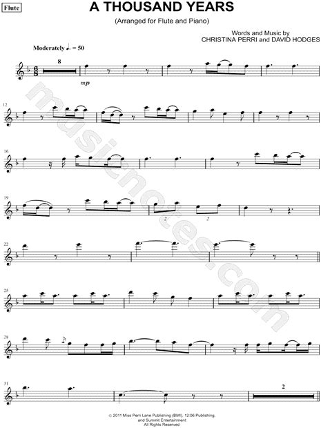 0035200944 play disney songs flute traversiere christina perri quot a thousand years flute quot sheet music