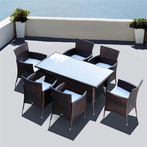 tavoli da esterno in rattan outsunny set mobili da esterno in pe rattan tavolo da
