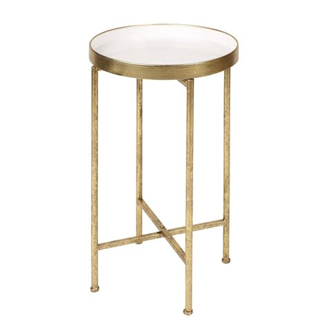 Metal Accent Table Kate And Laurel Deliah Metal Accent Table End Table 1 Gold White 208701