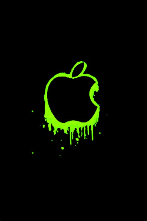 wallpaper apple neon neon green apple logo iphone ipod touch background by