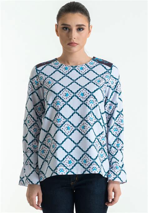 sleeve dobby print blouse bateeq