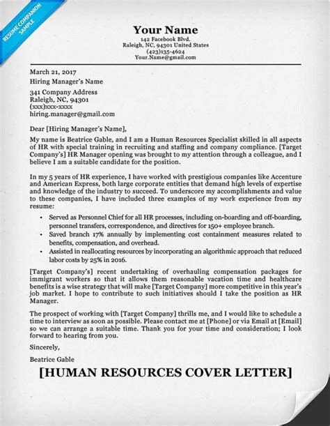 human resources cover letters for resumes human resources cover letter writing sle resume