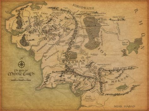 tolkien middle earth map the lord of the rings middle earth