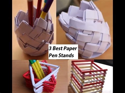 How To Make Pen Stand Using Paper - diy 3 best paper pen stand origami how to make 3 easy