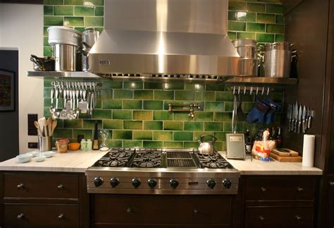 Green Kitchen Tile Backsplash Crafty Faux Glass Tile Backsplash