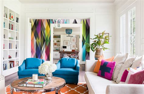 colorful wallpaper living room 23 stunning living rooms with geometric wallpapers home