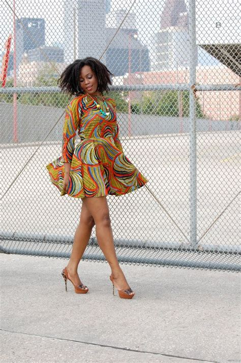 image for ankra skater dress style von me dress ankara print 3 4 sleeve dress with by
