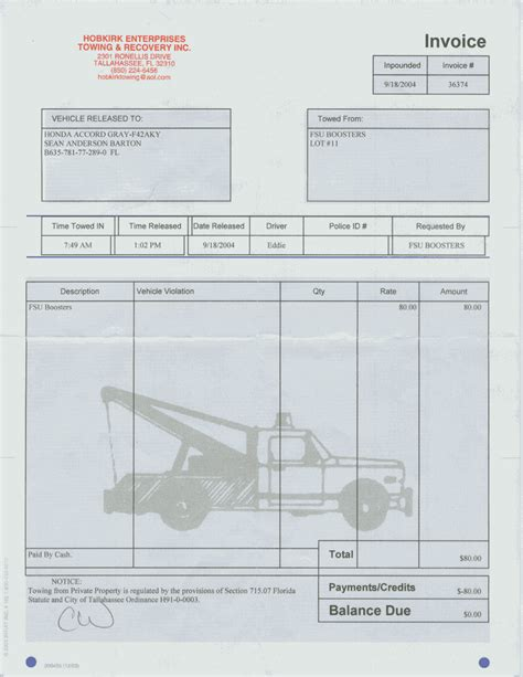towing service invoice template towing invoice forms hardhost info