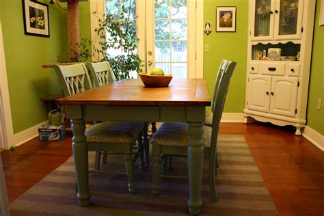painting a dining room table a blue farmhouse dining table