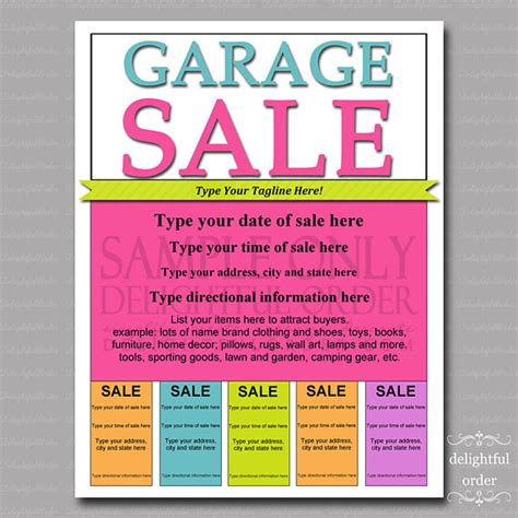 flyer template editable editable and printable garage sale flyer 1 pdf by